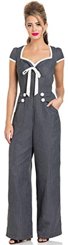 Vodoo Vixen Damen Overall Leanne Vintage Pinstripe Jumpsuit Grau XL