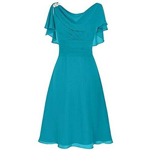 GOKOMO Damen sexy Wort Schulter Chiffon Kleider schwarz ärmellos Rock Damen lang mit Schlitz Brautkleid Kleid(Blau,Large)