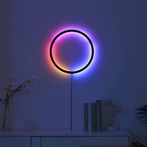 Liyabber Lampada da Parete RGB Interni, Applique da Parete Moderna LED Telecomando, Spina EU Lampada a Muro Anello Dimmerabile per Camera Bambini Soggiorno Camera Letto, 25W