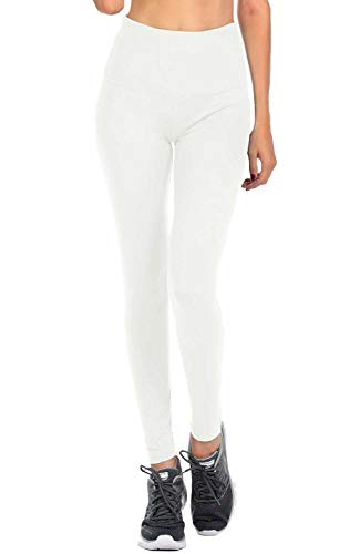 VIV Collection Signature Leggings Yoga Waistband Soft w Hidden Pocket (M, White)
