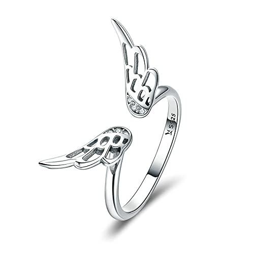 FGHNB Anillo de Compromiso Anillo de Plata esterlina 925 Alas de Plumas clásicas Anillos de Dedo Ajustables para Mujeres Anillo Abierto Regalo de joyería de Boda