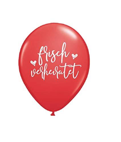 Great Stuff 10 Hochzeitsballons frisch verheiratet rot weiß Luftballon Hochzeit Ballons Brautpaar Geschenk Idee just Married Hochzeitsdeko