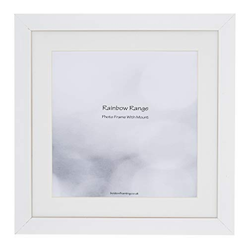 Boldon Framing - Matt White, Square Thin Photo Frame in Solid Wood with White Wall Mount, 14x14' - Frame Size 12x12' Picture Display