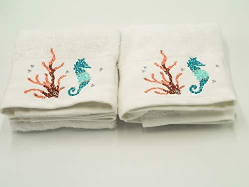 Lex's Linens 2 Stück Seepferdchen & Koralle bestickt Handtücher / Ocean Scene-Handtücher