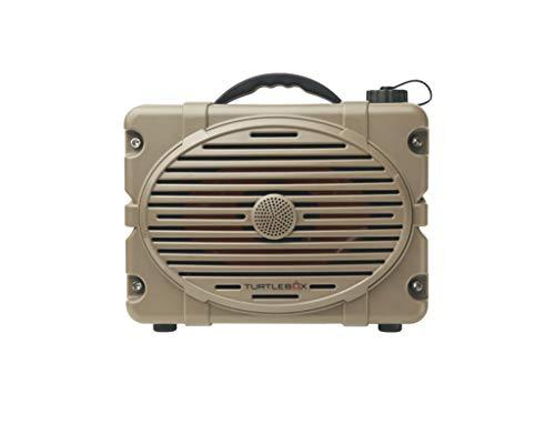 Turtlebox: Loud! Outdoor Rugged Bluetooth Speaker ~ Up to 50+ Hour Charge   IP67 Waterproof & Dustproof. (Plays up to 120db. Pair 2X for True Stereo), Single Speaker - Field Tan