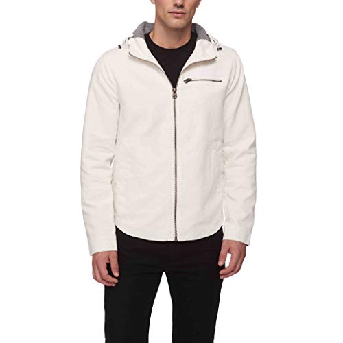 Levi's Men's Reverse Twill Cotton Swing Hooded Jacket, White, Medium