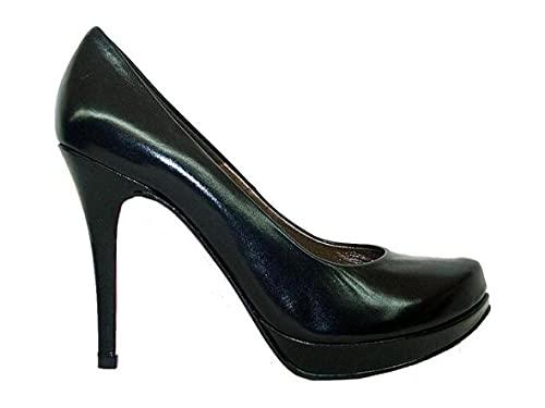 COPLA - Zapatos Salones Negros de Piel para Mujer con Punta -...