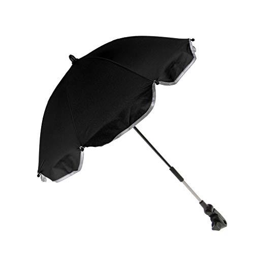 Baoblaze Hochwertiger Sonnenschirm Sonnenschutz für Kinderwagen Sportbuggy Babywagen Schirm mit Universalhalterung - Schwarz, 65 cm
