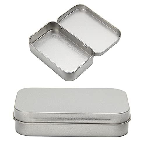 XINGYUE Caja de almacenamiento de metal de estaño de plata con tapa pequeña organizador para dinero moneda caramelo llaves joyería almacenamiento espejo