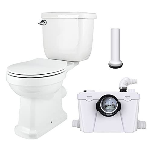 Macerating Toilet with Pump,Upflush Toilet System for Basement Room,Macerator Toilet Included Water...