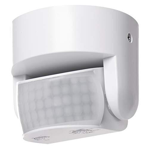 EMOS G1240 Infrarot-Bewegungsmelder IP65 für Innen und Außen, Arbeitsfeld 180°, 12m Reichweite, Empfindlichkeit 3-2000 Lux, zur Aufputzmontage
