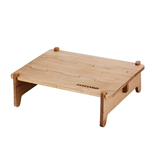 FLYFLYGO ウッドテーブル 組み立て式 軽量テーブル ミニテーブル 天然木 コンパクト収納 専用ケース付き インテリア キャンプ アウトドア