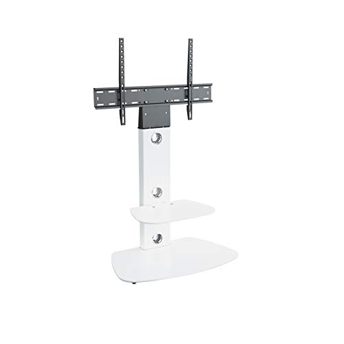 """King TV Stand with Bracket Cantilever for 32"""" 37"""" 39"""" 42"""" 45"""" 47"""" 49"""" 50"""" 55"""" 60"""" 65"""" + TVs, in white with rounded rectangle white glass, VESA compatible with curved & flat LCD & LED TVs"""