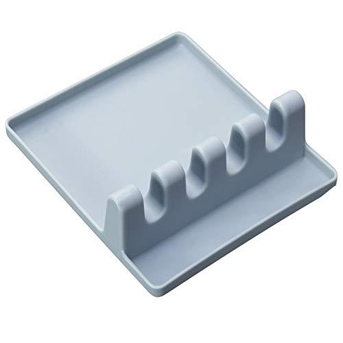 hgkl Cuchara Resto Utensilio de Cocina plástico Cuchara Soporte Tapa Tapa espátula Palillos Titular Cuchara Resorte Resistente al Calor Rack Organizador Antideslizante (Color : Blue)