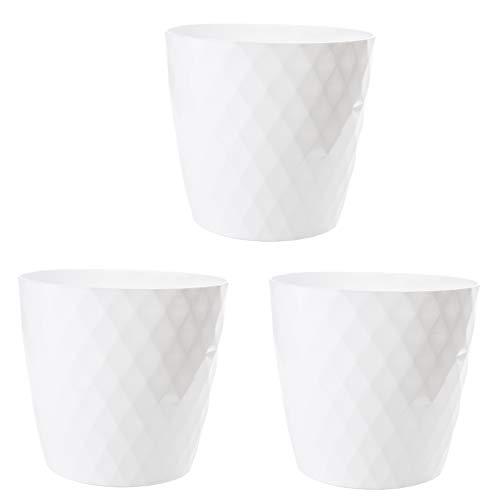 2friends Blumentopf weiß 3er Set, Durchmesser 14 cm (Oben), weiß glänzend, aus stabilem Kunststoff, ideale Fensterbank-Größe, Made in EU
