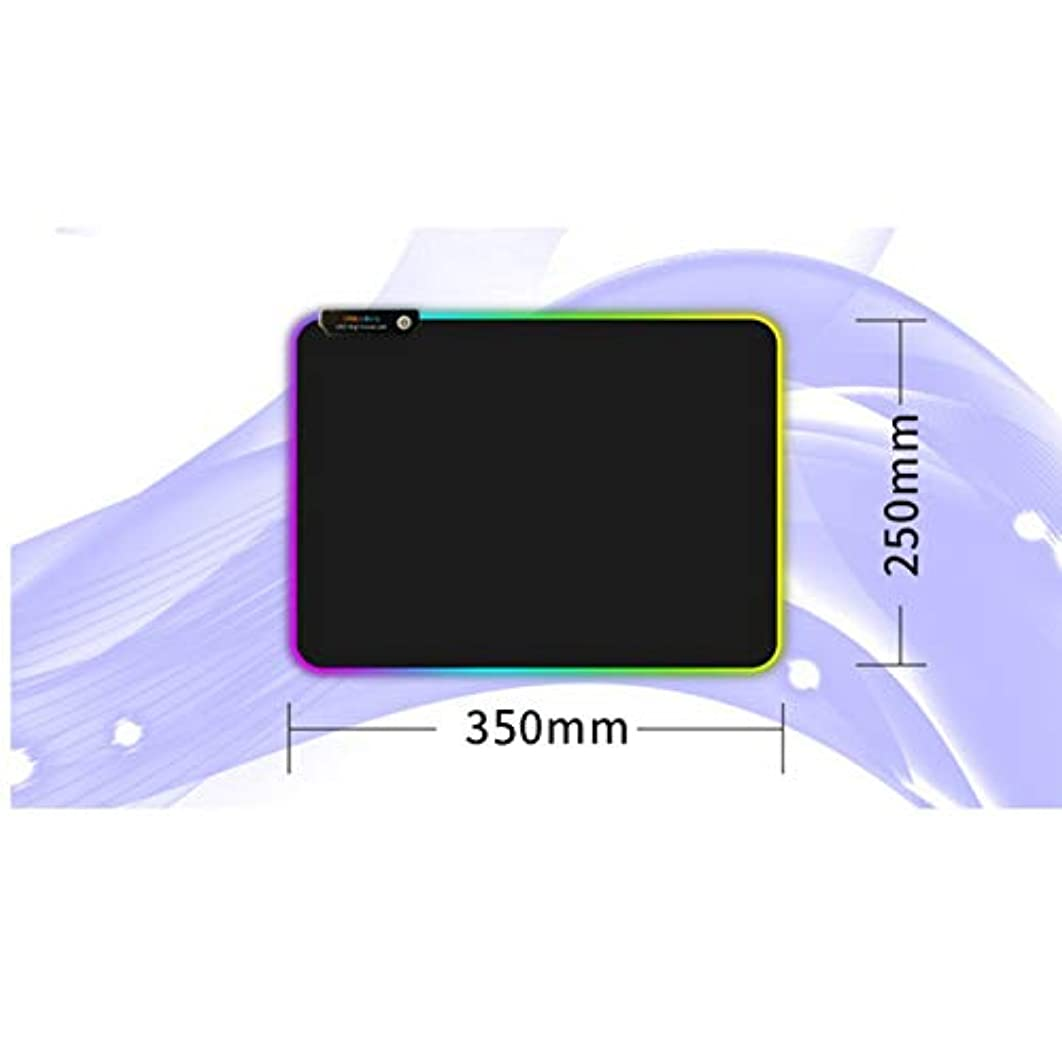 Aoile Super Large RGB LED Light USB Game Mouse Pad Natural Rubber Illuminated Non Slip Table Pad (no Memory Function) 350mm250mm4mm