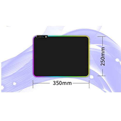 DishyKooker Super Large RGB LED-licht USB-speel-muismat natuurlijk rubber verlicht anti-slip tafelkleed elektronische telefoonaccessoires voor reizen/werken