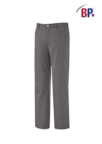 BP 1643-801-36-3XLl Unisex-Hose, Jeans-Stil mit verstellbarem Gummizug hinten, 215,00 g/m² Stoffmischung, schwarz-weiß gestreift ,3XLl