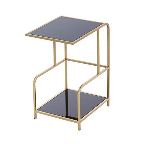 CSQ Il Peut déplacer la Table Basse, Chambre à Coucher de Salon avec la Table d'appoint multifonctionnelle à Double Couche de Verre trempé de poulie, 42.5 * 35 * 62CM (Taille : 42.5 * 35 * 62CM)