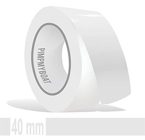 Siviwonder Zierstreifen weiß Glanz in 40 mm Breite und 10 m Länge für Auto Boot Jetski Modellbau Klebeband Aufkleber Dekorstreifen