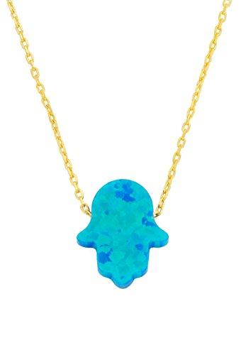 Remi Bijou Wunderschöne 925 Sterling Silber Halskette Kette + Anhänger - Fatimas Hand Hamsa Buddha Hand Opal türkis blau - Gold Farbe