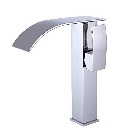 XUSHEN-HU Grifo de cocina de cobre cromado para lavabo bajo alta cascada de baño de sección mezcladora para muebles de baño (color: plata, tamaño: 34 x 18 x 20 cm)