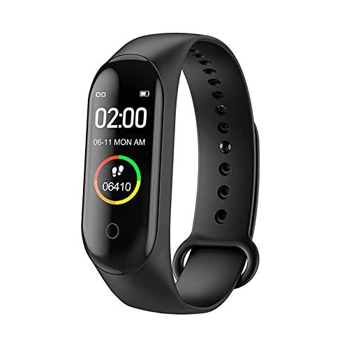 QiKun-Home M4 impermeable podómetro pulsera inteligente mensaje recordar salud Monitoreo pulsera pulsera relojes negro base carga