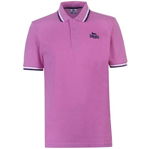 Lonsdale Herren Polohemd Klassische Passform Baumwolle Bright Rosa XL