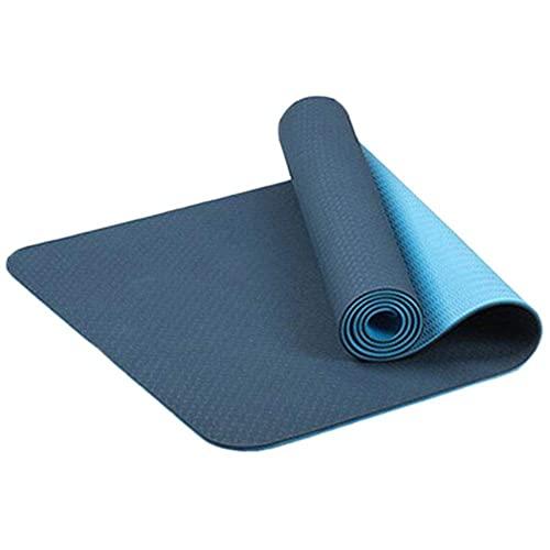 HYLL TPE Eco Friendly Yoga Mat & Free Tray Bag - Azul Marino/Azul - 183 cm x 61cm x 6mm de Espesor - sin Deslizamiento - Yoga/Pilates/Entrenamiento/Inicio/Gimnasio