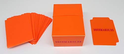 docsmagic.de Deck Box Full + 100 Double Mat Orange Sleeves Standard - Porta Mazzo & Bustine - PKM MTG
