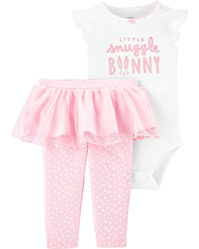 Carter's Infant Girls Happy Easter Outfit Bunny Rabbit Shirt & Leggings Set (12 Months, Ivory/Pink)