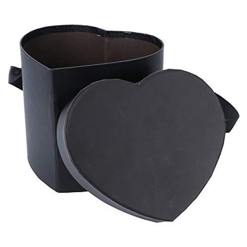 VALICLUD Pappschachtel Pappdosen Herz Form Blumenbox Geschenkbox Leer Rosenbox mit Deckel Schwarze Box Schachtel für Geburtstage Hochzeit Kommunion 15,5x15x13cm