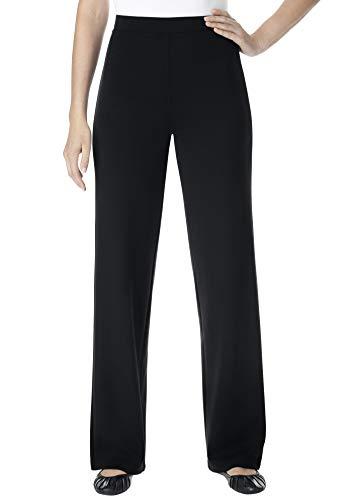 Woman Within Women's Plus Size Tall Wide Leg Ponte Knit Pant - 24 T, Black