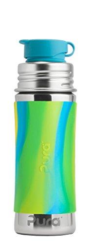 Pura Sportflasche Edelstahl für Kinder mit Deckel und Sport-Silikonhülle (ohne Kunststoff, ungiftiges Zertifikat, ohne bpa) Aqua-Strudel