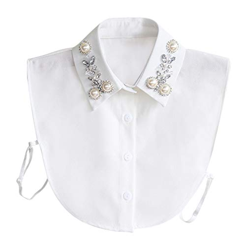 Hocaies Frauen Kragen Vintage Elegante Abnehmbare Hälfte Shirt Bluse Cotton Kragen Weiß Damen Blusenkragen (Pearl V1)