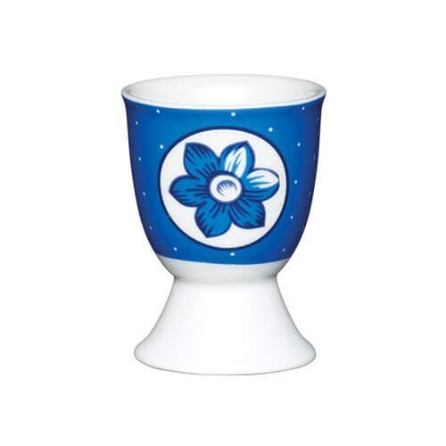 Kitchen Craft Fleur bleue à pois en porcelaine Coquetier