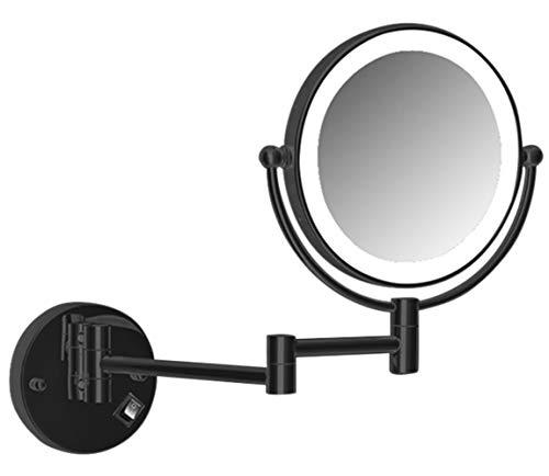 Wand-Schminkspiegel, Doppelseitiger LED-VergrößErungsspiegel, Badezimmerspiegel, um 360 ° Schwenkbarer und Ausziehbarer Rasierspiegel mit Plug-In/Verkabelung/Schwarz/Plug/in