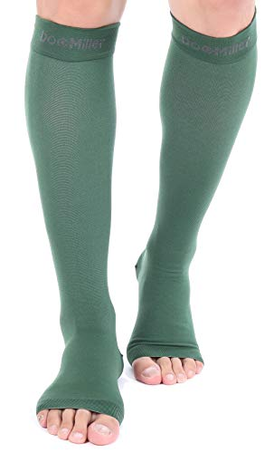 Doc Miller Open Toe Compression Socks 1 Pair 15-20 mmHg Firm Graduated Support for Circulation Surgery Recovery Varicose Veins POTS (Dk Grn, S)