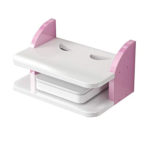 HAIZHEN Wandrek Set-top Box, MDF Bright Surface Wall Shelf Router Opbergdoos DVD Speler, Roze, Wit Sterke stabiliteit