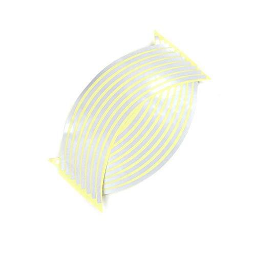 AKDSteel 16 Stück Streifen Rad Aufkleber Abziehbilder Reflektierendes Felgenband Motorrad Auto Klebeband 12 Zoll Silber Praktisches Autozubehör