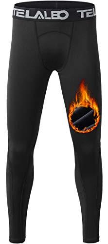 Teeleo Jungen Kompressionshose Thermo-Fleece Unterwäsche Leggings Cold Gear Pants - - XS