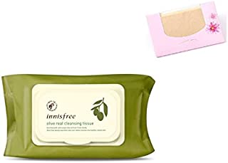 Innisfree Olive Real Cleansing Tissue 80 Sheets + SoltreeBundle Natural Hemp Paper 50pcs