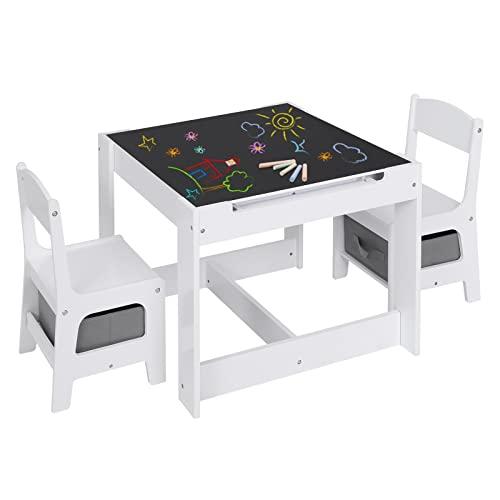 Lestarain Juego de Mesa y 2 Sillas para Niños de Madera, Mesa Infantil de Dibujo y Estudio, Muebles Infantil con Espacio de...