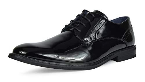 Bruno Marc Men's Prince-16 Black Pat Leather Lined Dress Oxfords Shoes Size 12 M US