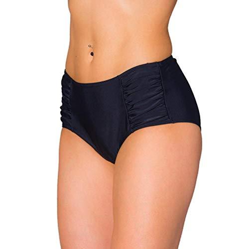 Aquarti Damen Bikinihose Hotpants mit setlichen Raffungen, Farbe: Schwarz, Größe: 40