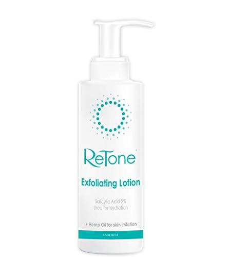 ReTone Keratosis Pilaris Exfoliating Body Lotion: KP treatment, Body Acne - Hemp oil + Urea + 2% Salicylic Acid + Lactic Acid - Gentle exfoliation to clear red, rough, bumpy skin