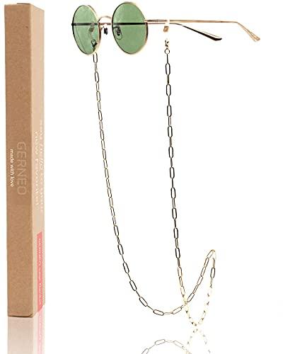 GERNEO® - Miami - Cadena para gafas dorada - resistente a la corrosión - cadena para gafas y correa para gafas de sol y de lectura - con mosquetón