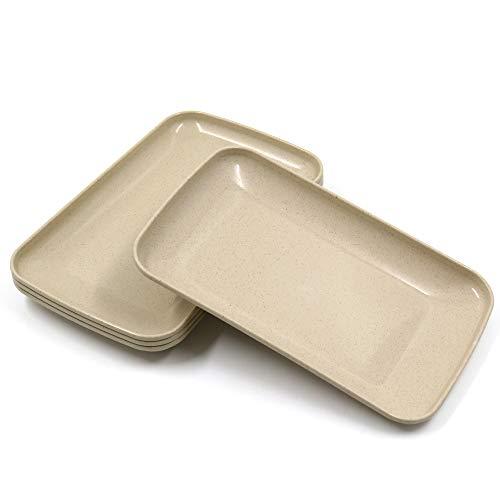 Paquete de 4 platos grandes rectangulares Roucerlin, platos de paja de trigo irrompibles, aptos para lavavajillas, platos de ensalada reutilizables ligeros para frutas (23,6 cm, beige)