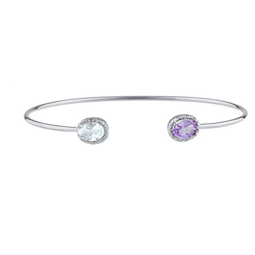 Elizabeth Jewelry Genuine Aquamarine & CZ Amethyst Diamond Bangle Oval Bracelet .925 Sterling Silver Rhodium Finish