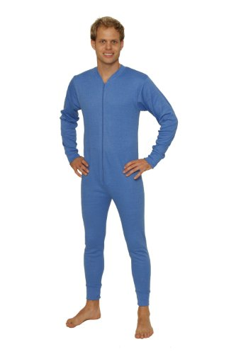 Octave Mens Thermal Underwear Union Suit/Thermal Body Suit (Medium, Blue)